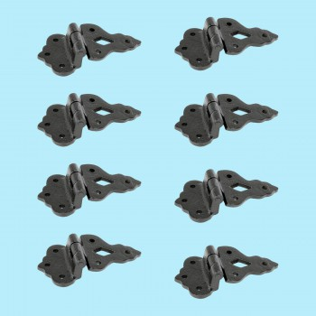 "<PRE>8 Hoosier Cabinet Hinge Wrought iron 3/8"" Offset 3 1/2'' W 8 Pack </PRE>zoom2"