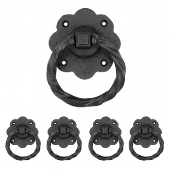Ring Pull Cabinet or Drawer or Door Wrought Iron Black 5 Pack of 5