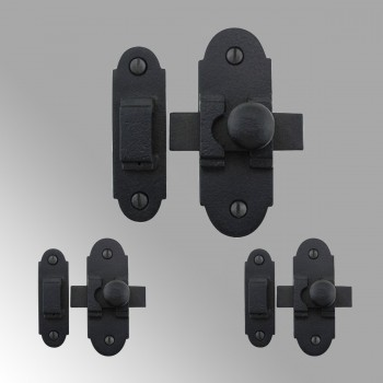 Slide Style Cabinet Latch Black Iron 3 1/4 Inch x 1 1/4 Inch 3 Pack Rensup