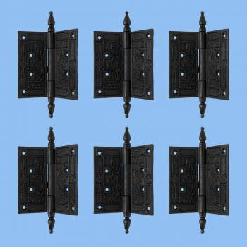 Wrought Iron Butt Hinge Black Victorian Steeple Tip Pack of 6 Door Hinges Door Hinge