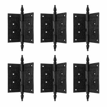 Wrought Iron Butt Hinge Black Victorian Steeple Tip Pack of 645781grid
