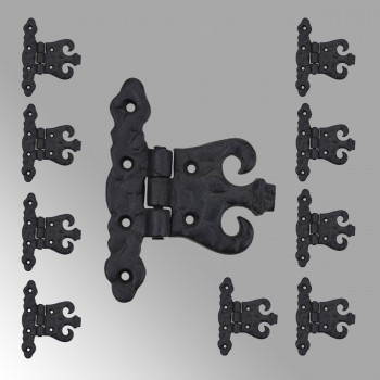 <PRE>10 Wrought Iron Hinge Black Rustproof Door or Cabinet  </PRE>zoom2