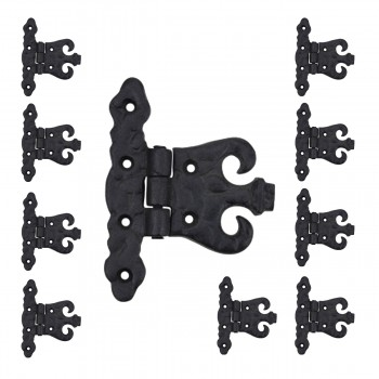 10 Wrought Iron Hinge Black Rustproof Door or Cabinet  45784grid