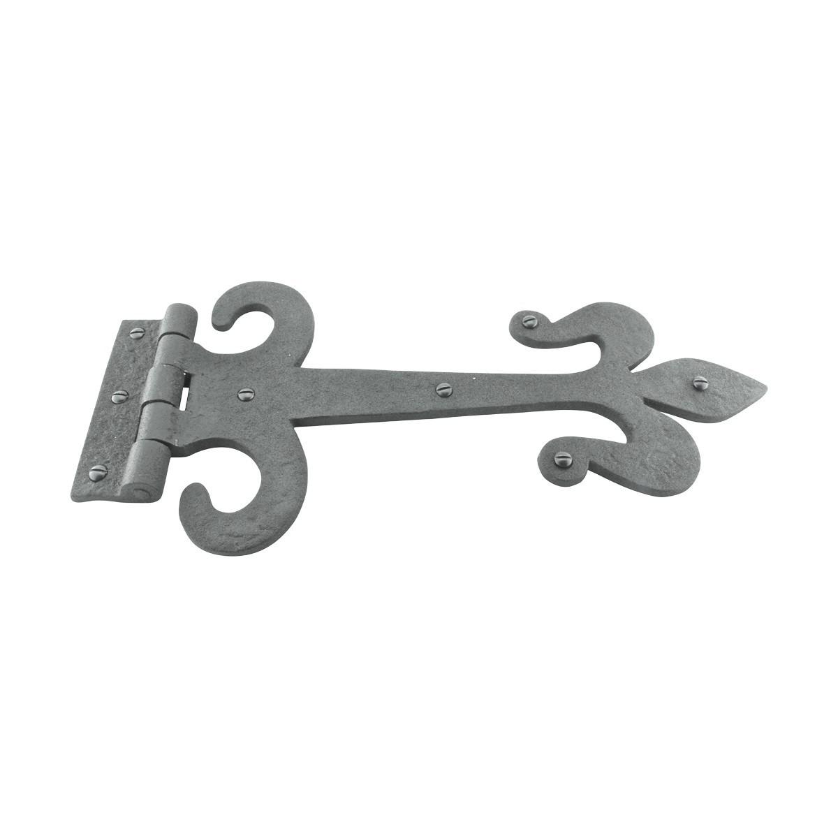 10 Door Hinge Black Wrought Iron Strap Fleur de Lis 12 Fleur de lis Door Hinge Wrought Iron Door Hinge Ornate Door Hinge