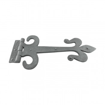 <PRE>10 Door Hinge Black Wrought Iron Strap Fleur de Lis 12inch </PRE>zoom3