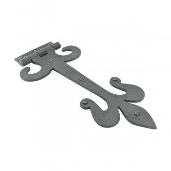 <PRE>10 Door Hinge Black Wrought Iron Strap Fleur de Lis 12inch </PRE>zoom5
