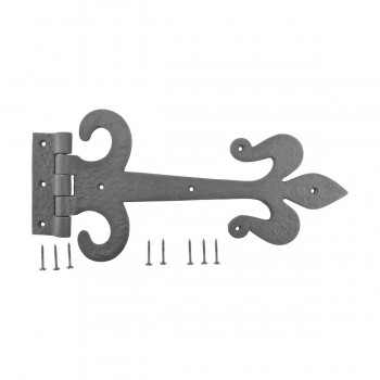 <PRE>10 Door Hinge Black Wrought Iron Strap Fleur de Lis 12inch </PRE>zoom9