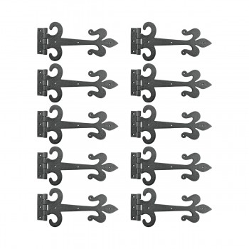 10 Door Hinge Black Wrought Iron Strap Fleur de Lis 12