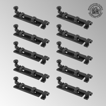 10 Black Wrought Iron  Cabinet or Door Slide Bolt 4 W Door Bolt Door Bolts Slide Bolts