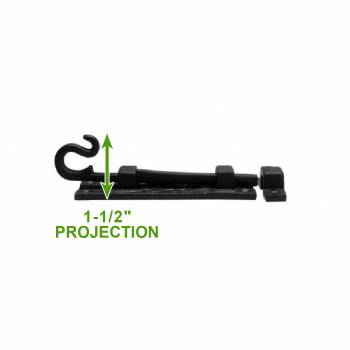 "spec-<PRE>4 Black Wrought Iron Cabinet or Door Fancy Slide Bolt 4 3/4"" </PRE>"