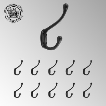 <PRE>10 Wrought Iron Double Hook Black for Coats Towels Robes </PRE>zoom2