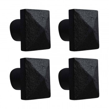 Iron Cabinet Hardware Knob Pull Square Black 1 14 Set of 4