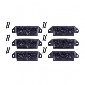 Cabinet or Drawer Bin Pull Black Iron Cup 4 W x 1 12 H Pack of 6