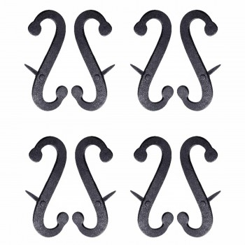 4 Pair Shutter Dog Scroll Black Hand Forged Iron Masonry