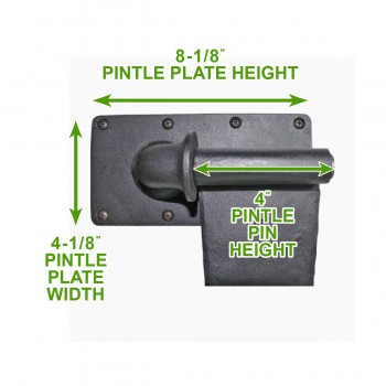 spec-<PRE>6 Pintle Strap Door Hinge Heart Tip Black Wrought Iron 34&quot; </PRE>