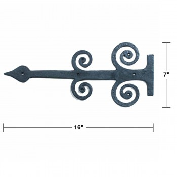 spec-<PRE>10 Decorative Heavy Iron Door Strap Hinge Spade 16&quot; Long </PRE>