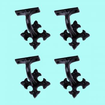 <PRE>4 Pcs Stair Hand Rail Brackets Black Wrought Iron </PRE>zoom2