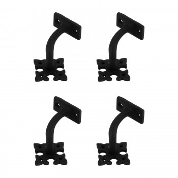 4 Hand Rail Brackets Black Wrought Iron Stair Hand Rail Bracket