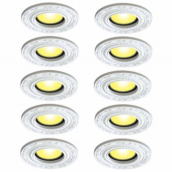 Spot Light Trim Medallions 6 Inch ID White Urethane Set of 10