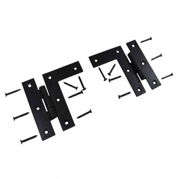 Wrought Iron Cabinet Hinges - Black - Left and Right - Colonial Style Pack of 3