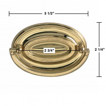 spec-<PRE>Hepplewhite Drawer Pull Polished Solid Brass 3 1/2&quot; W </PRE>