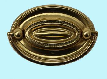 spec-<PRE>Hepplewhite Drawer Pull Polished Solid Brass  2 5/8&quot;  W </PRE>