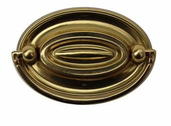 Hepplewhite Drawer Pull Polished Solid Brass  2 58  W