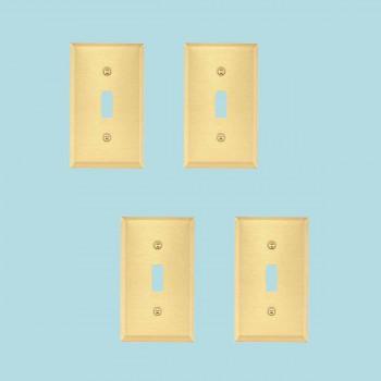4 Switch Plate Brushed Brass Single ToggleDimmer Switch Plate Wall Plates Switch Plates