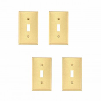 4 Switchplate Brushed Brass Solid Brass Single Toggle/Dimmer