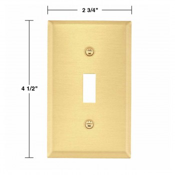 spec-<PRE>4 Switch Plate Brushed Brass Single Toggle/Dimmer </PRE>