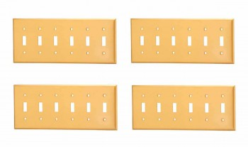 4 Switch Plate Brushed Solid Brass Six Toggle Switch Plate Wall Plates Switch Plates