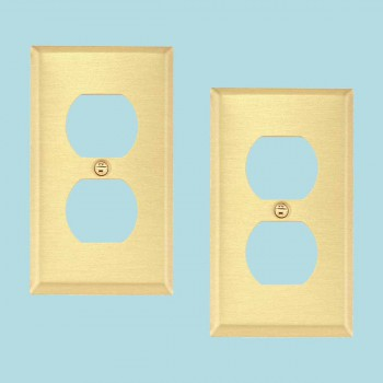 2 Switch Plate Brushed Brass Single Outlet Switch Plate Wall Plates Switch Plates