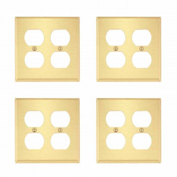 <PRE>4 Switch Plate Brushed Brass Double Outlet </PRE>zoom1