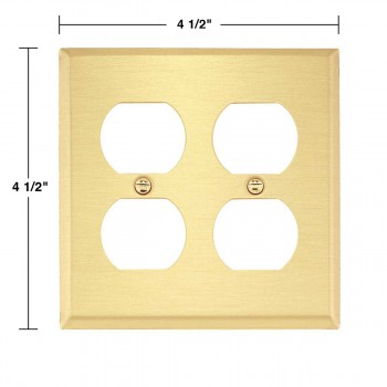 spec-<PRE>4 Switch Plate Brushed Brass Double Outlet </PRE>