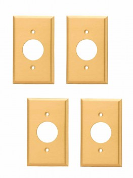 <PRE>4 Switch Plate Brushed Solid Brass Single Receptacle </PRE>zoom1