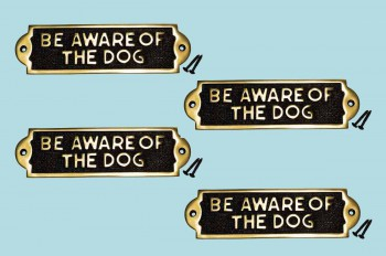 <PRE>Polished Brass Plate Be Aware Of The Dog Sign Brass Plaques 2 1/8 H X 7 1/16 W</PRE>zoom2