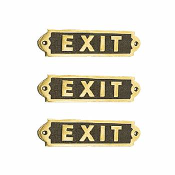 Exit Sign Solid Brass Plaque Polished Tarnish Resistant Brass Plate Pack Of 3 Exit Sign Brass Plaques Brass Plate
