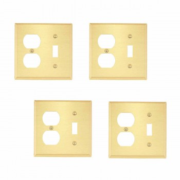 <PRE>4 Switch Plate Brushed Solid Brass Toggle/Outlet </PRE>zoom1