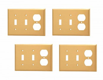 4 Switch Plate Brushed Brass Double ToggleOutlet Switch Plate Wall Plates Switch Plates