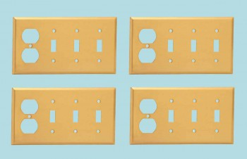 <PRE>4 Switch Plate Brushed Brass Triple Toggle Outlet </PRE>zoom2