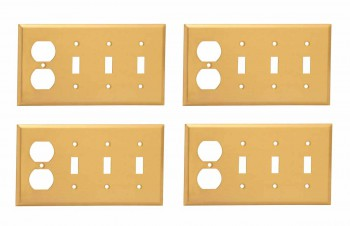 <PRE>4 Switch Plate Brushed Brass Triple Toggle Outlet </PRE>zoom1