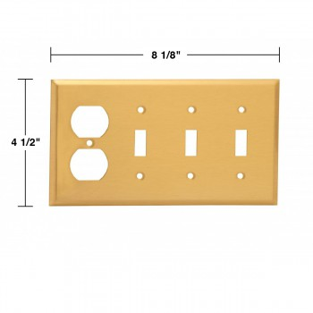 spec-<PRE>4 Switch Plate Brushed Brass Triple Toggle Outlet </PRE>