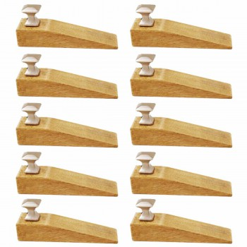 <PRE>10 Door Wedge Solid Mango Wood Satin Brass Knob Natural </PRE>zoom1