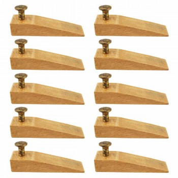 10 Door Wedge Solid Mango Wood Antique Brass Knob Natural Floor Stop Door Stop Door Bumper