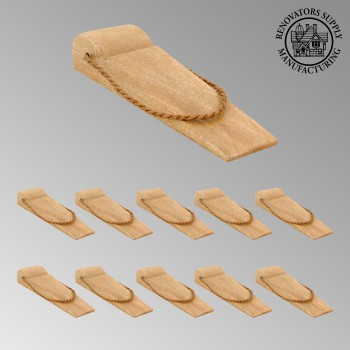 spec-<PRE>10 Door Wedge Solid Mango Wood Leather Hanging Loop Natural </PRE>