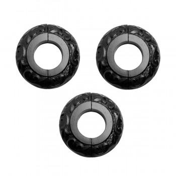 3 Radiator Flanges Black Aluminum Escutcheon 1 1/4 inches ID