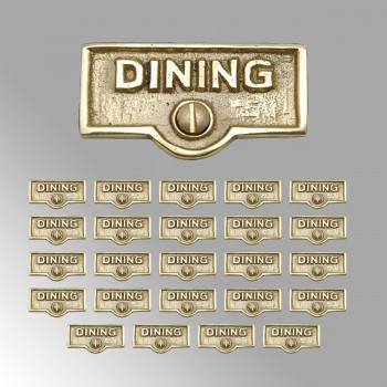 spec-<PRE>25 Switch Plate Tags DINING Name Signs Labels Lacquered Brass </PRE>