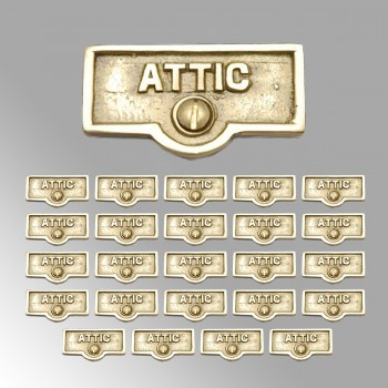 <PRE>25 Switch Plate Tags ATTIC Name Signs Labels Lacquered Brass </PRE>zoom2