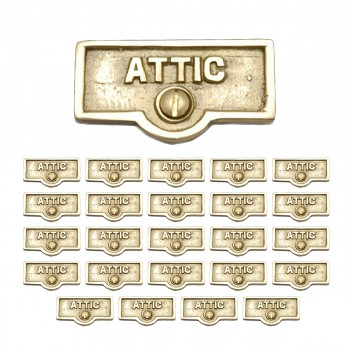 <PRE>25 Switch Plate Tags ATTIC Name Signs Labels Lacquered Brass </PRE>zoom1