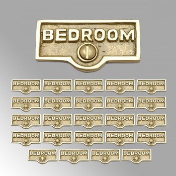 spec-<PRE>25 Switch Plate Tags BEDROOM Name Signs Labels Lacquered Brass </PRE>